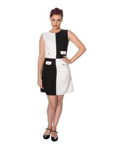 Dancing Days 1960s Style Black White Dylan Mini Dress