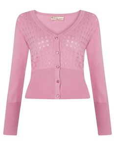 Friday On My Mind V-Neck Knitted Crop Cardigan Pink