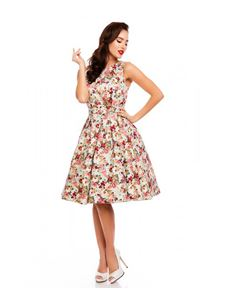Dolly & Dotty Annie Retro White Pink Floral Swing Dress