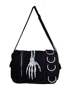 Banned Skeleton Hand Messenger Black Bag