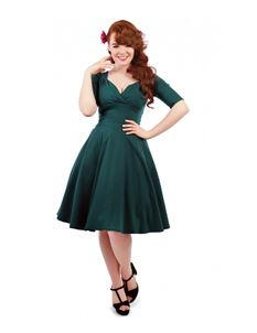 Collectif 40s Vintage Style Trixie Doll Teal Dress