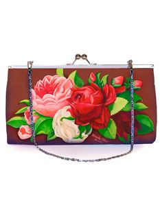 Woody Ellen 50's Style Red Paris Floral Retro Clutch Shoulder Bag