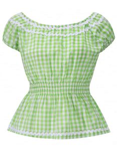 Lindy Bop 50's Caterina Gingham Gypsy Rockabilly Top