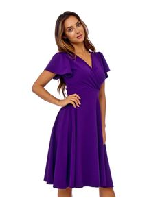 Clarence and Alabama Emma Waterfall Sleeve Dress Purple