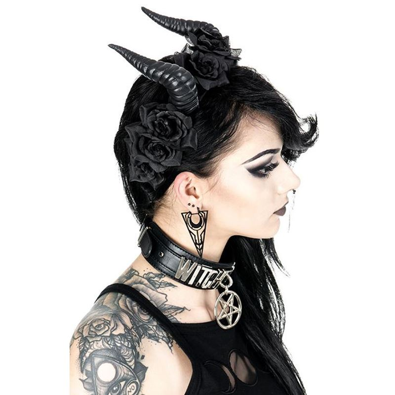 Restyle Beleth Rose Horns Headband Gothic Headpiece