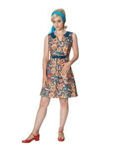 Dancing Days 1960s Style Floral Bow Mini Dress