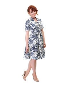 Collectif Janet Toile Floral 50s Style Shirt Dress