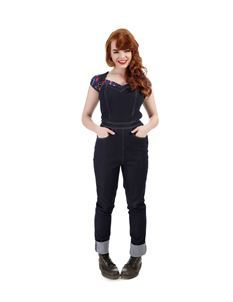 Collectif Denise 50s Style Navy Blue Dungarees