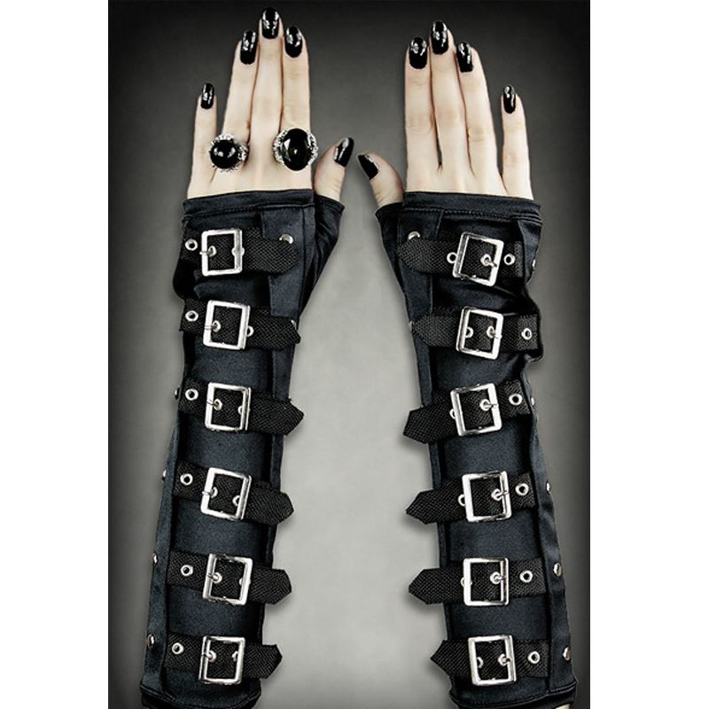 Restyle Gothic Arm Warmers Goth Black Buckle Gloves