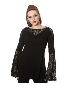Banned The Dark Hour Awaits Jersey Lace Alternative Top