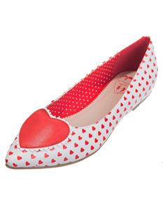 Banned Alma White Red Heart Print Flat Shoes