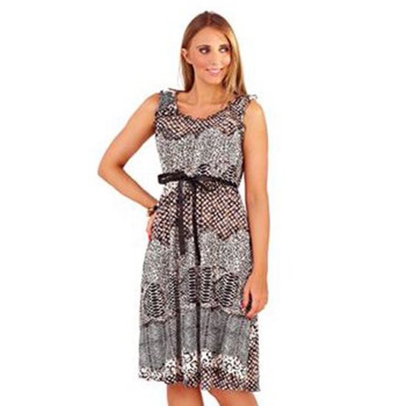 ef5ceb680796 Knee Length Animal Print Summer Dress Brown UK Size 10-16