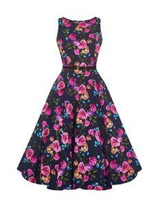 Lady Vintage 50's Amethyst Rose Floral Dress Midnight Blue