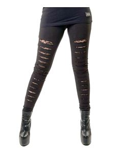 Vixxsin Slasher Ripped Alternative Black Leggings