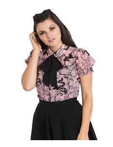 Hell Bunny Fiona Snake Floral Roses Chiffon Pink Blouse