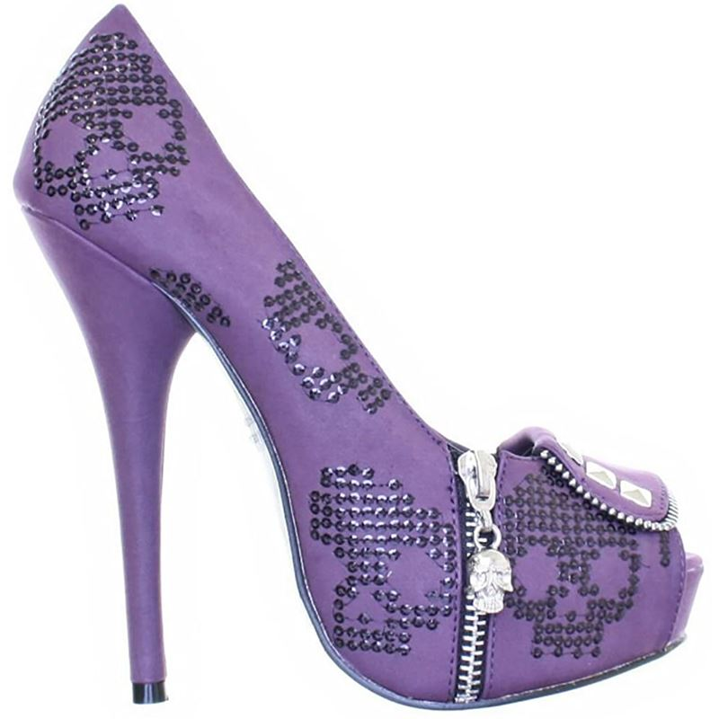 Iron Fist Ruff Rider Skull Platform Shoes Heels Purple