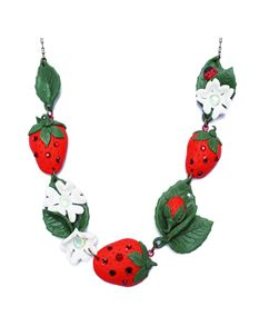 Guns N Posies Strawberry & Flowers Necklace