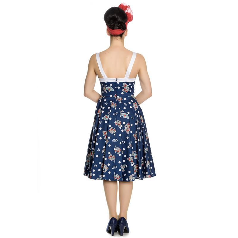Hell Bunny Oceana 50s Nautical Polka Rockabilly Dress