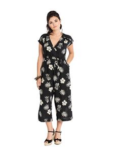 Hell Bunny Pineapple Hibiscus Tropical Black Jumpsuit