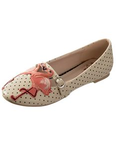 Dancing Days Magic Moment Polka Dot Flamingo Flat Shoes