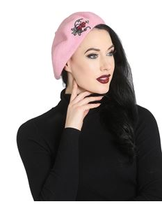 Hell Bunny Amora Heart Graveyard Alternative Beret Hat