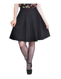 Hell Bunny Gabby Black Blue Red Mini Short Skater Skirt