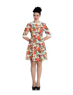 Hell Bunny Autumn Pumpkin Floral 60s Style Mini Dress