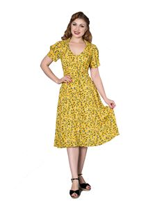 Sheen Penelope 1940s Wartime Yellow Tea Dress