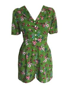 Trollied Dolly Collared 50's Playsuit - Green Floral