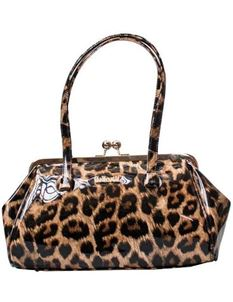 Collectif 50s Style Retro Leopard Kiss Lock Bag