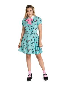 Hell Bunny Bugs Life Dragonfly Insects Mini Dress