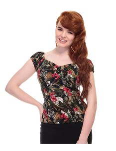 Collectif Dolores 50s Vintage Lanai Black Hibiscus Top