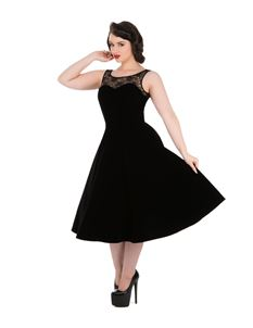 Hearts & Roses Black Velvet 50s Style Swing Dress