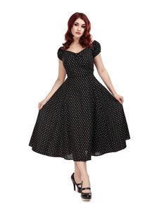 Collectif 50s Dolores Black Mini Polka Dot Gypsy Dress