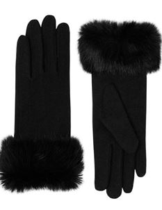 Pia Rossini Vintage Style Fur Trim Black Wool Gloves