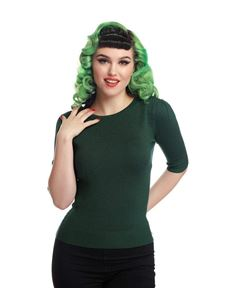 Collectif 40s 50s Chrissie Plain Emerald Green Jumper