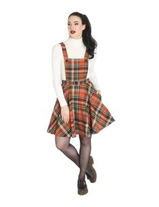 Hell Bunny Oktober Tartan Check Mini Pinafore Dress