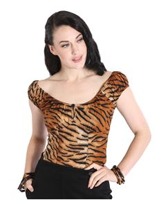 Hell Bunny Tora Tiger 50s Style Gypsy Top