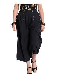 Hell Bunny Murphy Black Culottes Wide Cropped Trousers