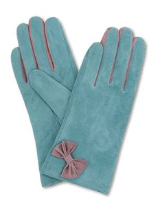 Powder Gertrude Suede Vinatge Style Gloves In Teal
