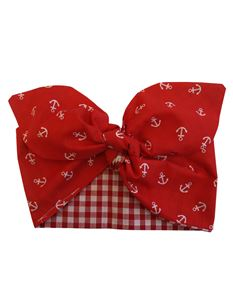 Gas Axe Inc Red Anchor Gingham Rockabilly Head Scarf
