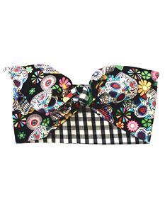 Gas Axe Inc Sugar Skull Gingham Rockabilly Head Scarf