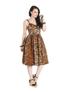 Hell Bunny Tora Tiger Print 50s Dress