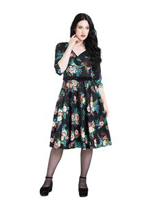 Hell Bunny Blue Bell 50s Vintage Style Floral Dress