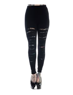 Banned Slashed Ripped Alternative Black Leggings