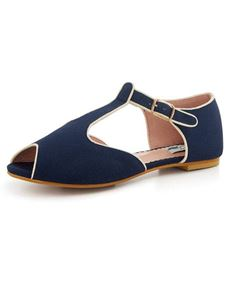 Collectif 40's 50's 60's Nina Navy T-bar Flat Shoes
