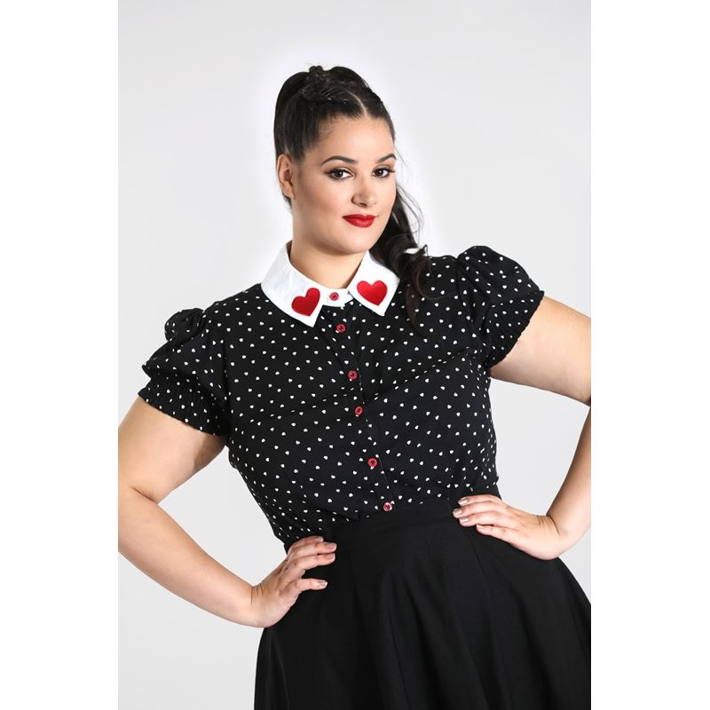 Hell Bunny Allie Heart Valentines Blouse