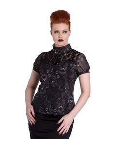 Spin Doctor Scullion Gothic Skull Top Black