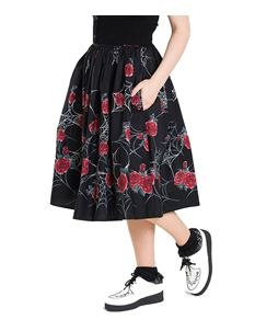 Hell Bunny Sabrina Spider Web Red Rose 50s Skirt