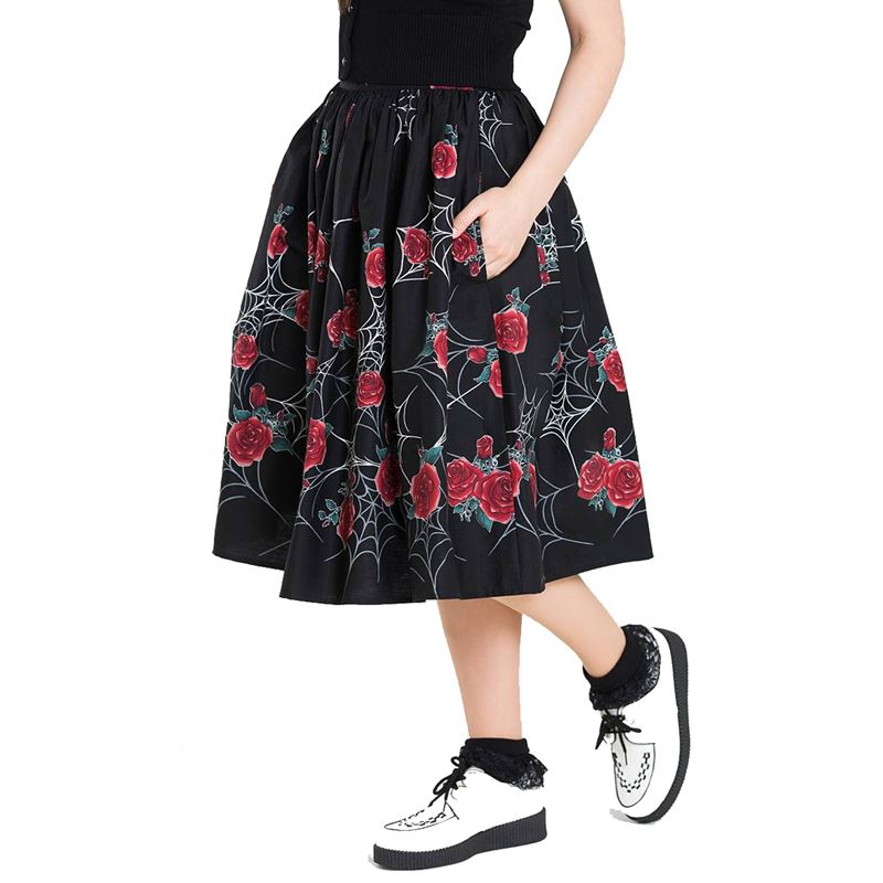 1c578f172 Hell Bunny Sabrina Spider Web Red Rose 50s Skirt